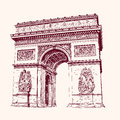 Arch of triumph paris hand drawn vector illustration Stock Image