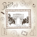 Arch of triumph picture in frame paris illustration set love paris frame vintage collection scrapbooking pencil hand dr symbol Stock Images