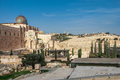 Archaeological park near the walls of jerusalem israel with al aqsa mosque and the jeus graveyard in the backfround distant arabic Stock Photo