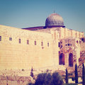 Archaeological park temple mount and jerusalem instagram effect Royalty Free Stock Image