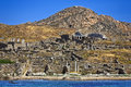 Archaeological site of delos greece cyclades islands remains ancient sanctuary apollo above kynthos hill the is on Stock Images