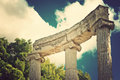 Archaeological site of olympia greece vintage style ancient ruins the philippeion at detailed view the philippeion close up Royalty Free Stock Photography
