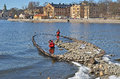 Archaeologists examining discovered shipwreck kastellholmen stockholm wreck was discovered due to low water level ship probably Stock Photo