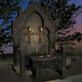 Archaic altar or sanctum in a fantasy setting Royalty Free Stock Photo