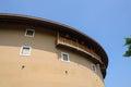 Archaised circular earthen dwelling building the duplicated version of fujian fujian tulou chengdu china Stock Photo