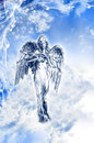 Archangel ariel beautiful angel in blue lover mystical blue white sky Royalty Free Stock Photos