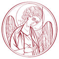 Archangel drawing outline hand drawn illustration of an orthodox icon interpretation isolated on white Royalty Free Stock Image