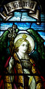 Archangel Gabriel in stained glass Royalty Free Stock Photo