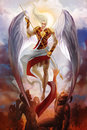 Archangel michael descending and fighting demons in hell Royalty Free Stock Photos