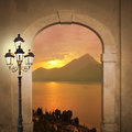 Arched door and sunset lake romantic mood with view to landscape with burning lantern Royalty Free Stock Photos