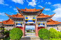 Arched  Entrance of Chinese Temple under Blue Sky and White Cloud Royalty Free Stock Photo