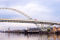 Arched Fremont bridge over the river Willamette Portland Oregon Royalty Free Stock Photo