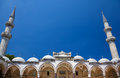 The arched gallery with two minarets suleymaniye mosque in inner courtyard of istanbul turkey Stock Images