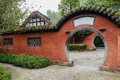 Arched gate of aged enclosure in chinese traditional style the an chengdu china Stock Photos