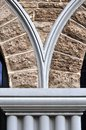 Arched limestone wall and window brickwork Stock Images