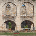 Arched masonry courtyard of the historic old west spanish mission san jose national park interesting view and founded in Royalty Free Stock Photos