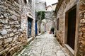 Arched medieval street in an old village in istria croatia Stock Photos