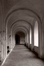 Arched passage perspective view of an in the ancient monastery Stock Photos