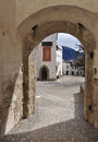 Arched passageway salzburg castle austria and inner court medieval and fortress of Royalty Free Stock Photography