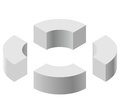 Arched shapes in isometric perspective, isolated on white background. Basic building blocks for creating abstract objects, backgro