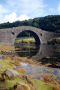 Arched stone bridge over river Royalty Free Stock Photo