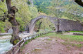 Arched stone bridge of Pyli, Thessaly, Greece Royalty Free Stock Photos