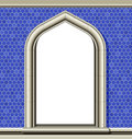 Arched window, blue tiles Royalty Free Stock Image
