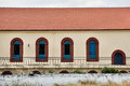 Arched windows and roof of the church in greece Stock Images
