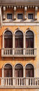 Arched windows of venetian house a texture gothic architectural style Stock Images