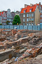 Archeological excavations in fundaments of renaissance houses burnt during second world war in gdansk northern poland Stock Photos