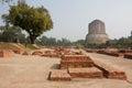 Archeological landmark with ruins of old monastery and buddhist dhamek stupa sarnath india ancient town sarnath is where gautama Stock Photos