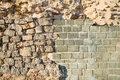 Archeological layers rebuilt of an old wall on an site Stock Photography