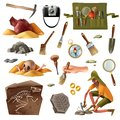 Archeology Essential Elements Set Royalty Free Stock Photo