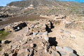 Archeology site in canary islands with round stones Stock Image