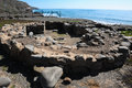 Archeology site in canary islands with round stones Royalty Free Stock Photo
