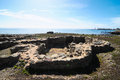 Archeology site in canary islands with round stones Royalty Free Stock Images