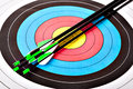 Archery arrows in target photo Stock Image