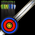 Archery background arrows and target black with a set of for Stock Photos