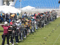 Archery competition archers in the shooting line athens greece Royalty Free Stock Image