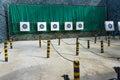 Archery range with row of target bullseye Stock Photos