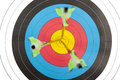 Archery target with arrows in short dept of field the bulls eye an three depth Royalty Free Stock Photo