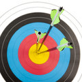 Archery target with arrows in square frame Royalty Free Stock Photo
