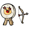 Archery target and bow cartoon retro with texture isolated on white Royalty Free Stock Image