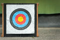 Archery target well used empty with copy space for conceptual text Stock Photography