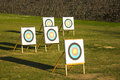 Archery targets near the montjuic castle in barcelona spain Royalty Free Stock Photos