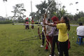 Archery teenagers practicing at karanganyar central java indonesia Royalty Free Stock Images