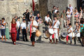Archery tournament parade in san marino medieval reenactement on july in san marino Stock Images