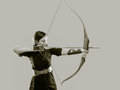 Archery woman beautiful aiming tinted black and white image Stock Image