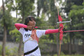 Archery a young athlete practicing in karanganyar central java indonesia Royalty Free Stock Photos