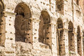 Arches on coliseum wall ancient the roman Royalty Free Stock Photos